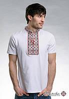 Чоловіча футболка білого кольору на короткий рукав «Зоряне сяйво (червона вишивка)»