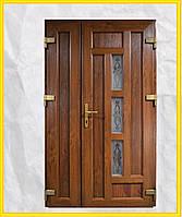 Двери входные 1200 металлопластиковые с окном