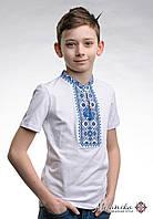 Біла футболка для хлопчика із вишивкою на грудях «Зоряне сяйво (синя вишивка)», фото 1
