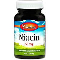 Carlson Labs, Ниацин, B3 витамин 50 мг, 300 таблеток