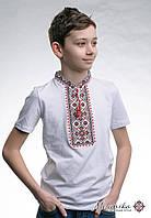 Вишита футболка для хлопчика на короткий рукав «Зоряне сяйво (червона вишивка)»