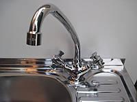 Кран смеситель HAIBA две ручки кухонный, фото 1