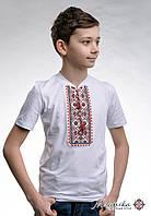 Дитяча вишиванка для хлопчика на короткий рукав із V-подібним вирізом «Зоряне сяйво (червона вишивка)»