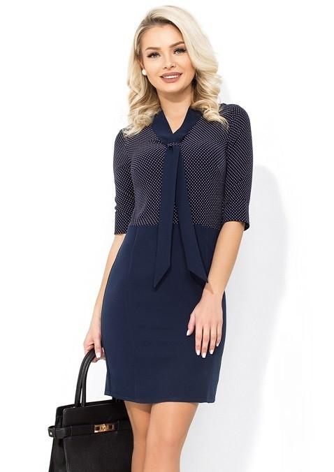 Оригинальное темно-синее платье в офис Д-204