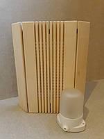 """Ограждение  светильника угловое """"Фрезер"""" и светильник Lindner  для сауны или бани."""