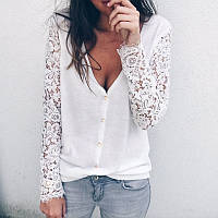 Женский свитер с кружевными рукавами, фото 1