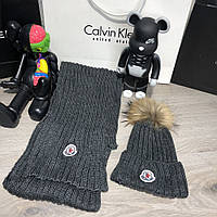 Moncler Winter Hat Knitted Pompon and Scarf Dark Gray, фото 1
