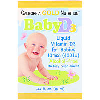 "Жидкий витамин D3 для малышей California GOLD Nutrition ""Baby D3"" в каплях, 10 мкг (10 мл)"
