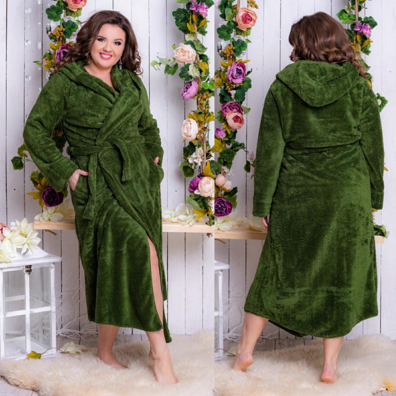 7a8ca686e0ef0 Женский длинный махровый халат в больших размерах 098-1