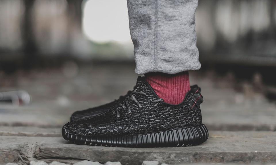 Кроссовки в стиле ADIDAS YEEZY кеды текстильные черные (реплика)