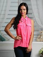 Блуза шифон, неон - розовая