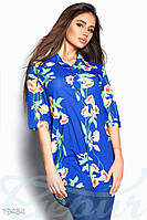 Синяя шифоновая блуза с цветочным принтом