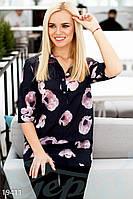 Черная шифоновая блуза с цветочным принтом
