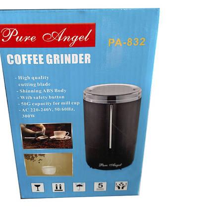 Компактна кавомолка PURE ANGEL PA-832 300 Вт електрична кавомолка чорний корпус, фото 2
