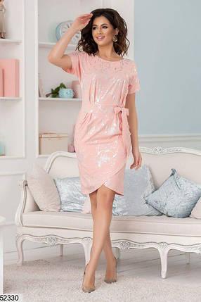 Летнее платье асимметрия облегающее короткий рукав персикового цвета принт, фото 2