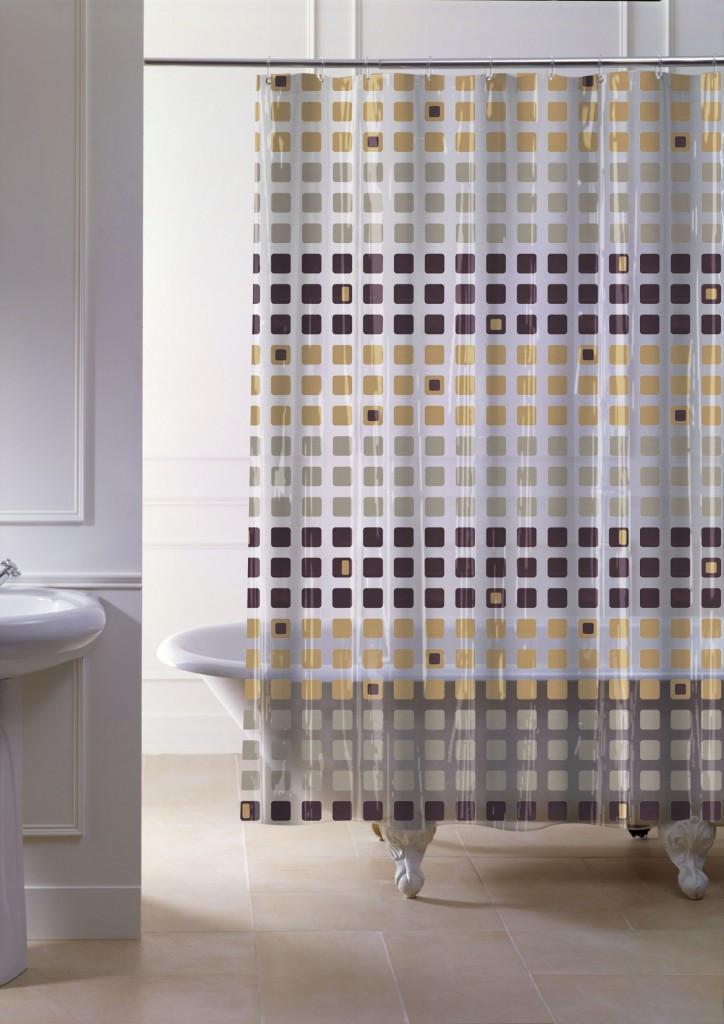 """Штора в ванную 120 (x2) x 200 см """"Paradise"""", с кольцами точный размер цвет коричневый"""