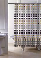 """Штора в ванную 120 (x2) x 200 см """"Paradise"""", с кольцами точный размер цвет коричневый, фото 1"""