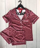 Пижама велюровая в клеточку-рубашка+шорты.