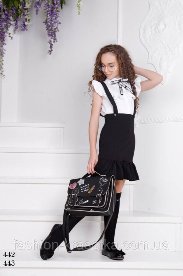 Блуза школьная для девочки без рукав,ткань поликоттон,размеры:134,140,146,152