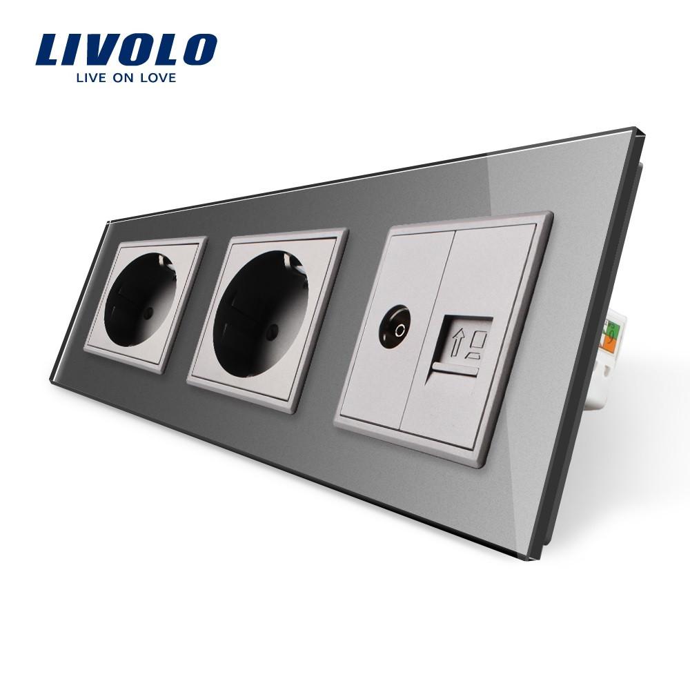 058cf6875150e Розетка с заземлением ТВ розетка интернет розетка RJ-45 Livolo цвет серый  стеклянная (VL-C7C2EU1C1V-15)
