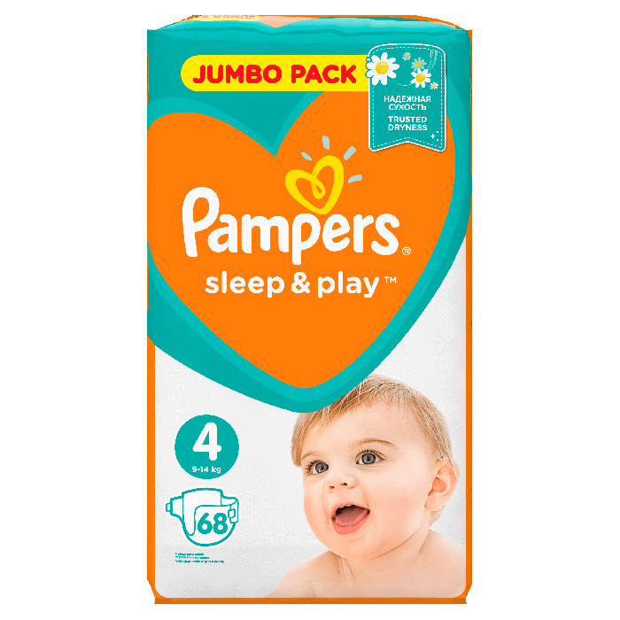 Подгузники Pampers Sleep & Play Maxi 4 (8-14 кг), Джамбо 68 шт