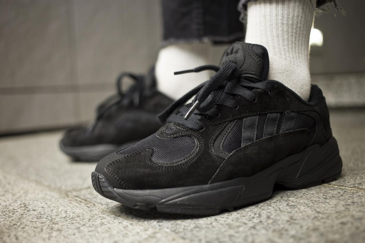 """Мужские кроссовки Adidas Yung-1  """" Triple Black """" ( Реплика )"""