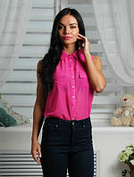 Рубашка женская розовая, шифон
