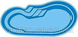 """Стаціонарний скловолоконний посилений басейн """"Атлант"""" 8,0х3,5 глибиною від 1,2 до 1,6 м."""