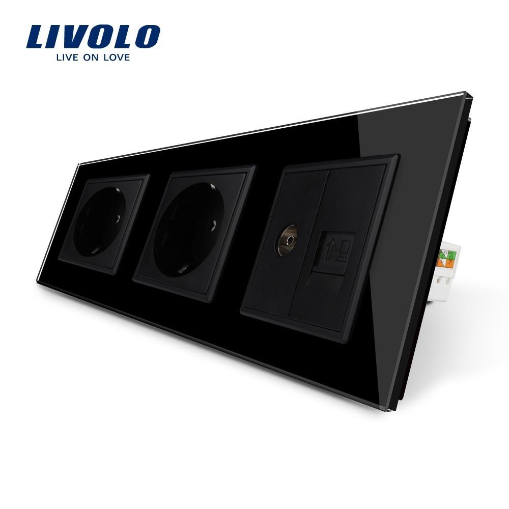 de3d77977ec71 Розетка с заземлением ТВ розетка интернет розетка RJ-45 Livolo цвет черный  стеклянная (VL-C7C2EU1C1V-12)