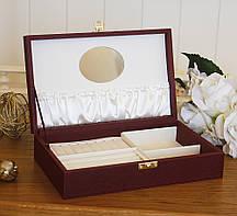 Шкатулка для ювелирных украшений  25*15*5,6 Гранд Презент 603411 бордовая