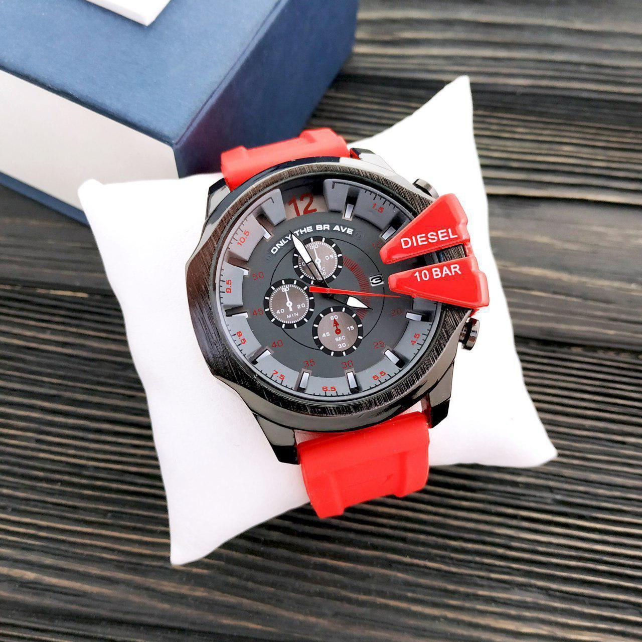 Наручные мужские часы Diesel 10 Bar Black-Gray-Red-Red Wristband Silicone