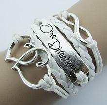 Молодежный браслет «One Direction» плетение белый