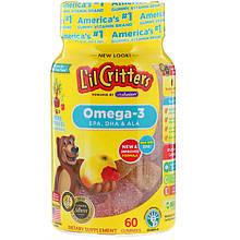 """Омега-3 для дітей L il Critters """"Omega-3"""" з вітамінами, смак малини і лимонаду (60 жувальних цукерок)"""
