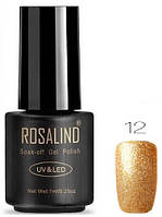Гель-лак для ногтей маникюра 7мл Rosalind, золотой с глиттером 12