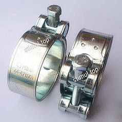 20-22 мм / Хомут усиленный болтовой / Optima / Силовой хомут для шлангов высокого давления / Хомути оцинковані