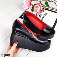 Кожаные открытые туфли на танкетке, фото 1