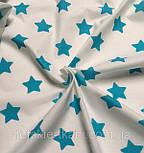 Отрез ткани 581а с большими звёздами 4 см тёмно-бирюзового цвета, размер 82*160, фото 2