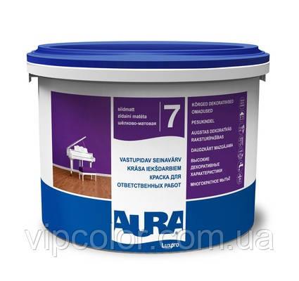 Aura Luxpro 7 Белая 5 л акрилатная шелково-матовая краска для стен и потолков арт.4820166520909