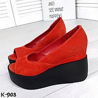Красные замшевые открытые туфли на танкетке, фото 1
