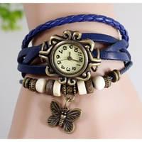 Часы браслет с бабочкой (синие)