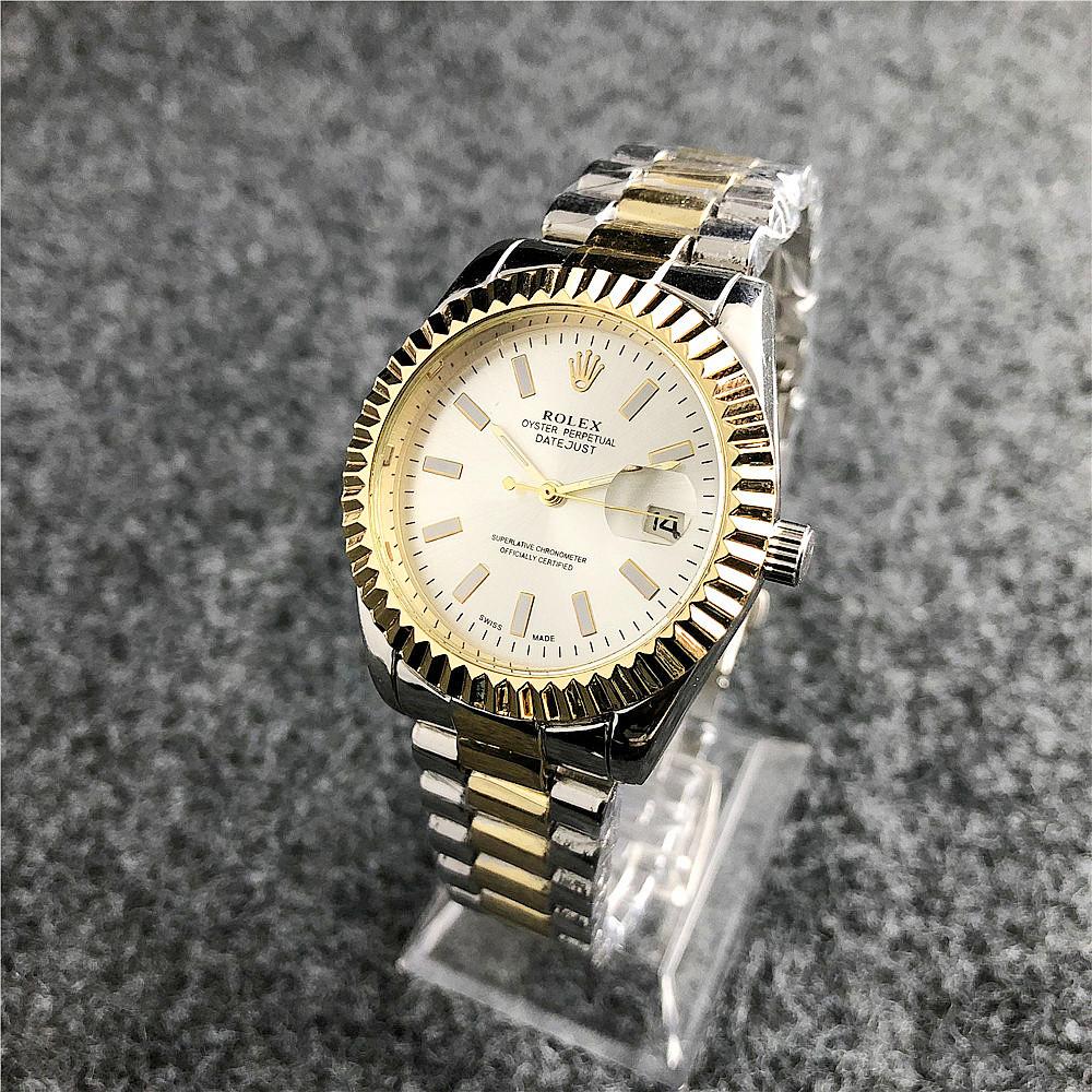 Наручные женские часы Rolex Date Just Silver-Gold-Silver