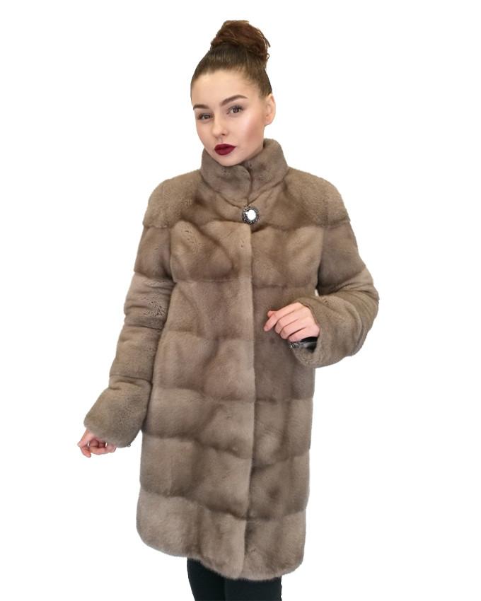 Шуба норковая  Oscar Fur 496 Серый