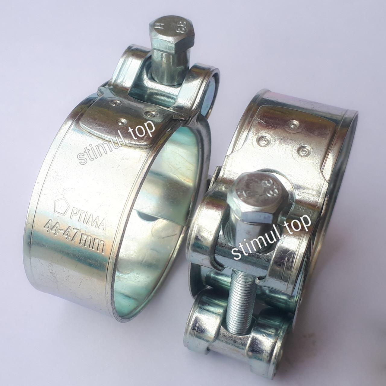 25-27 мм / Хомут усиленный болтовой / Optima / Силовой хомут для шлангов высокого давления / Хомути оцинковані