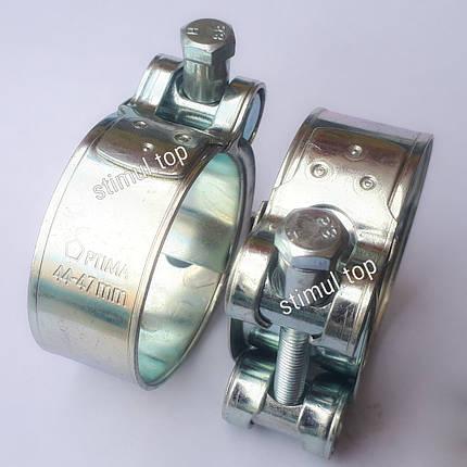 25-27 мм / Хомут усиленный болтовой / Optima / Силовой хомут для шлангов высокого давления / Хомути оцинковані, фото 2