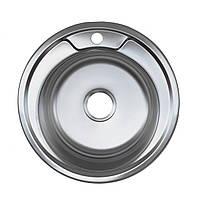 Кухонная мойка Platinum 490 Polish 0,8мм круглая полированная