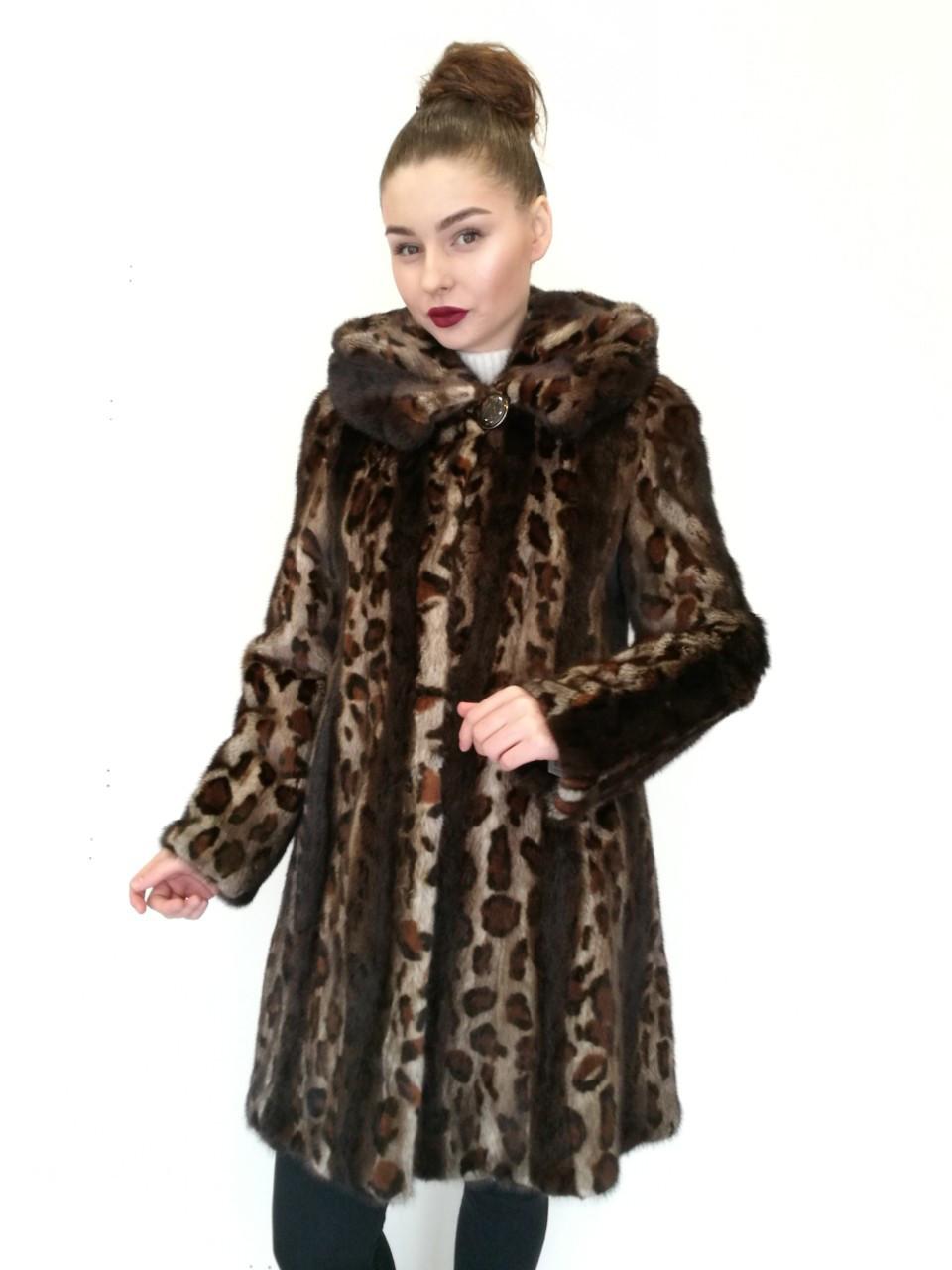 Шуба - манто женская удлиненная (норка) с капюшоном, цельнокроеная / mink coat 428