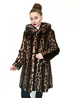 Шуба - манто женская удлиненная (норка) с капюшоном, цельнокроеная / mink coat 428, фото 1