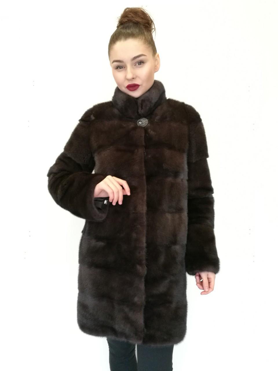 Шуба норковая Oscar Fur 499 Темно -коричневый