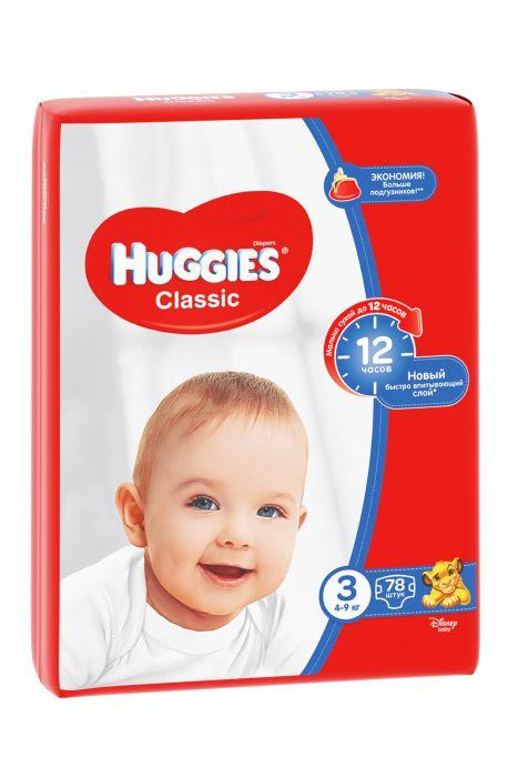 "Huggies Подгузники ""Classic"" 3 Mega Pack (4-9 кг, 78 шт)"