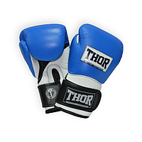 Перчатки боксерские штучная кожа THOR PRO KING (PU) BLUE-WHT-BLK прочные, синего цвета